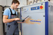 Techniker am ZuhauseKraftwerk (Bild: Manfred Witt / LichtBlick AG)