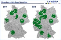 ZuauseKraftwerk Vertriebsgebiet (Grafik: LichtBlick Präsentation 2011)