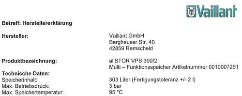 Die neue Herstellerbestätigung zum VPS 300 bestätigt 303 Liter